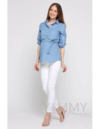 """Рубашка для кормящих и беременных джинсовая, голубая с принтом """"зонтики"""""""