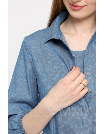 Рубашка для кормящих и беременных джинсовая, голубая в горошек