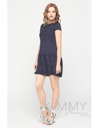 """Платье для кормящих и беременных с воланом, темно-синее с принтом """"пальмы"""""""