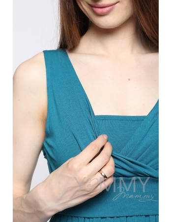 Платье-сарафан для беременных и кормящих, изумрудное