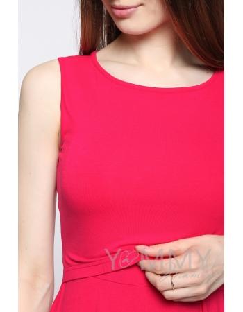 Платье для кормящих и беременных с пояском, фуксия