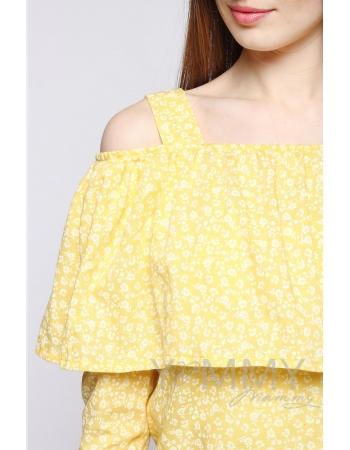 Блуза для беременных и кормящих с воланом, желтая с цветочным принтом