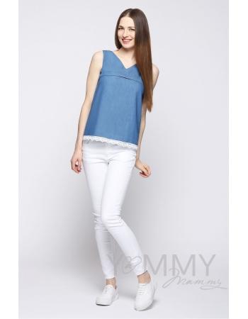 Блуза из денима для кормящих и беременных, с белым кружевом