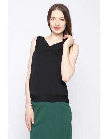 Блуза для беременных и кормящих, черная с кружевом