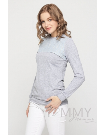 Свитшот для беременных и кормящих с секретом на молнии, серый меланж с кружевной вставкой