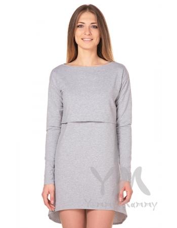 Платье-туника для беременных и кормящих с длинным рукавом, серый меланж
