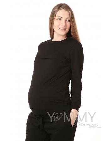 Свитшот для беременных и кормящих с секретом на молнии, черный
