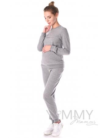 Свитшот для кормящих и беременных с секретом на молнии, серый меланж