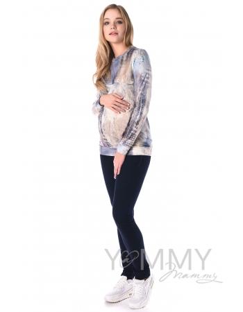 Свитшот для кормящих и беременных с секретом на молнии, белый/голубой рисунок