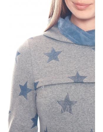 Толстовка для беременных и кормящих с капюшоном на меху, серый меланж с синими звездами