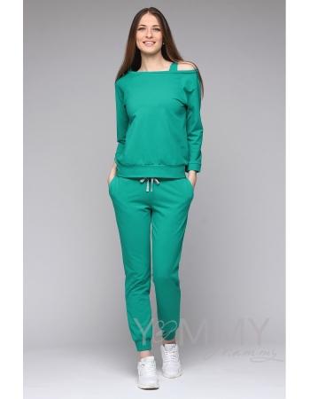 Джемпер для кормящих и беременных со спущенным плечом, зеленый