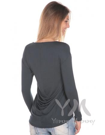 Туника для кормящих и беременных с драпировкой на спине, антрацит