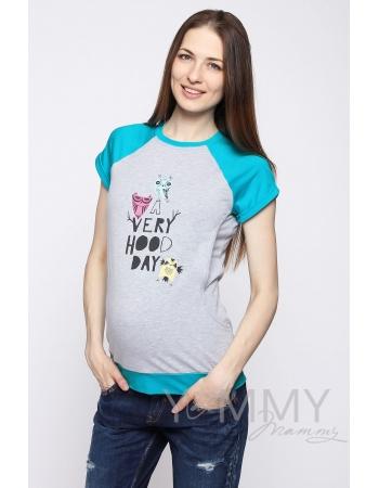 Футболка для беременных и кормящих, серый меланж/бирюза с принтом