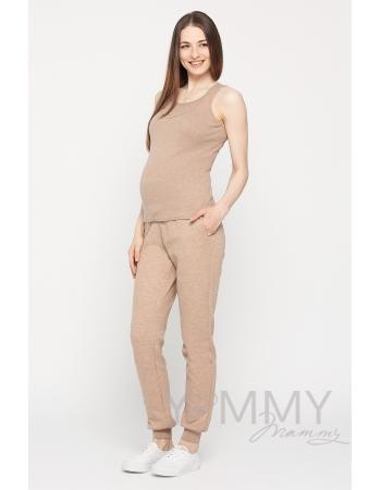 Майка для беременных и кормящих, цвет бежевый меланж