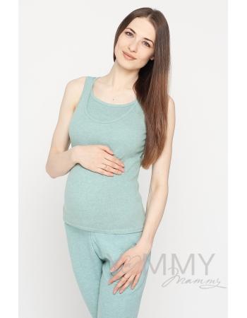Майка для беременных и кормящих, цвет зеленый меланж