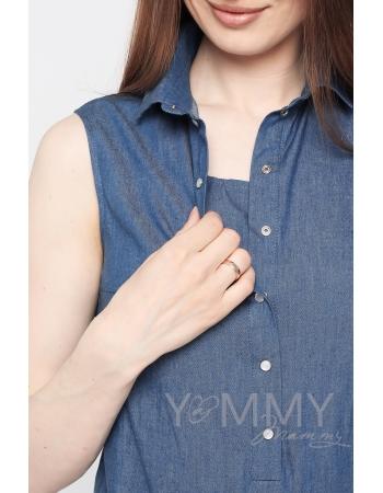 Туника для беременных и кормящих джинсовая с кружевом