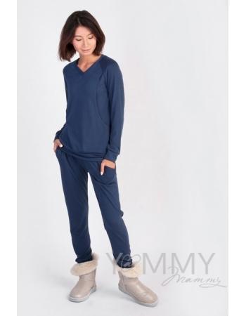 Костюм для беременных и кормящих из джемпера и брюк, темно-синий меланж