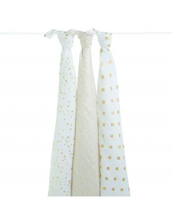 Муслиновые пеленки для новорожденных Aden&Anais мерцающие большие, набор 3, Metallic Gold