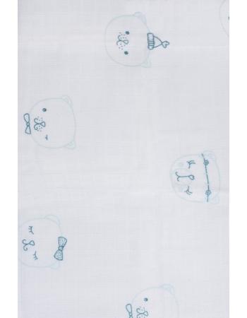 Муслиновые пеленки для новорожденных Jollein средние, Funny Bear Green