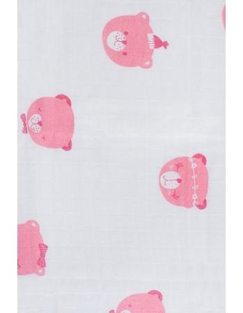 Муслиновые пеленки для новорожденных Jollein большие, Funny Bear Pink