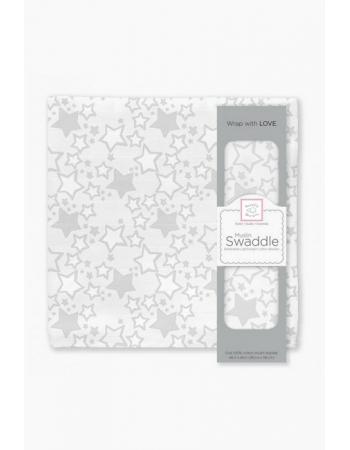 Муслиновая пеленка для новорожденных Swaddle Designs большая, Sterling Starshine