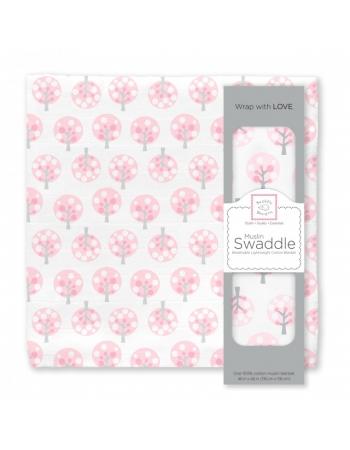 Муслиновая пеленка для новорожденных Swaddle Designs большая, Pink Spot Tree