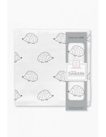 Муслиновая пеленка для новорожденных Swaddle Designs большая, Black Hedgehog