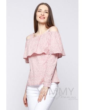 Блуза для беременных и кормящих с воланом, розовая с цветочным принтом