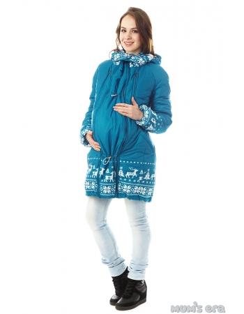 Зимняя слингокуртка Ingrid 3в1, олени лазурь