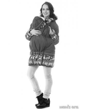 Зимняя слингокуртка Ingrid 3в1, олени графит