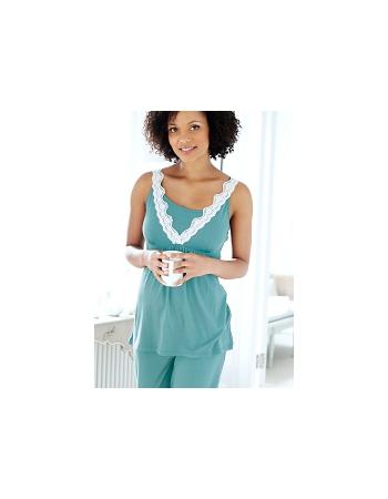 Домашний комплект для кормящих с брюками Amoralia Lace Trim, цвет Aqua