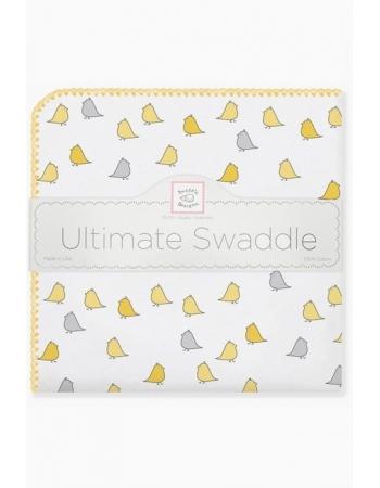 Фланелевая пеленка для новорожденного SwaddleDesigns Птички - желтые