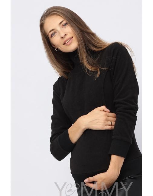 0250eedf8e08 Джемпер для беременных и кормящих флисовый с высоким горлом, черный ...