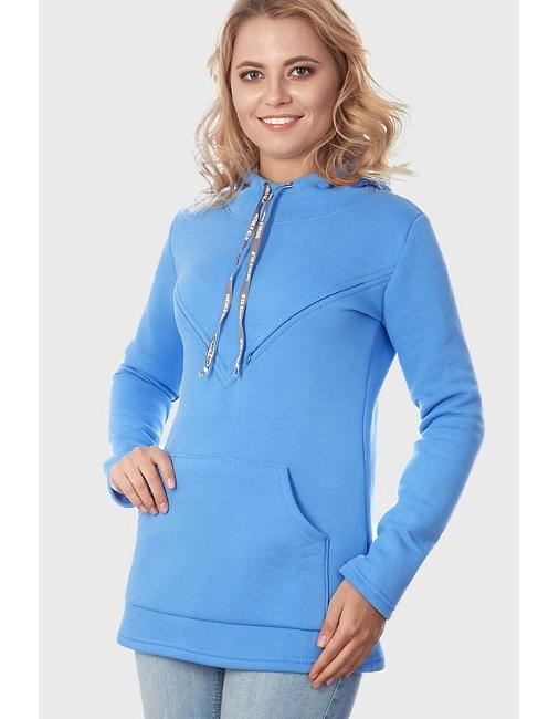 Толстовка для беременных и кормящих из футера Betty - голубая ... d55fbcded57