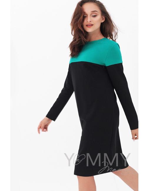 fd9b50b419f0 Платье для беременных и кормящих колор-блок, черное с зеленым ...