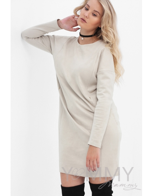 870a12c6d382 Платье для беременных и кормящих замшевое, цвет светло-бежевое ...