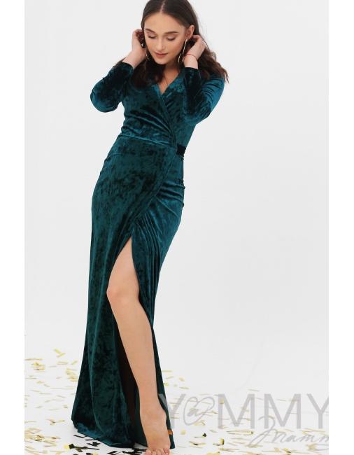 42498e27d0a Вечернее платье для беременных и кормящих длинное бархатное на запах ...