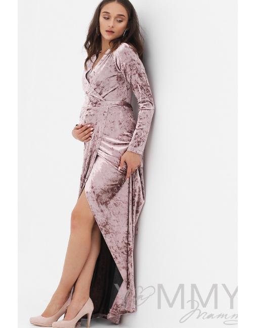 7a8c2408f1b6de6 Вечернее платье для кормящих и беременных длинное бархатное на запах, цвет  пудрово-розовый ...