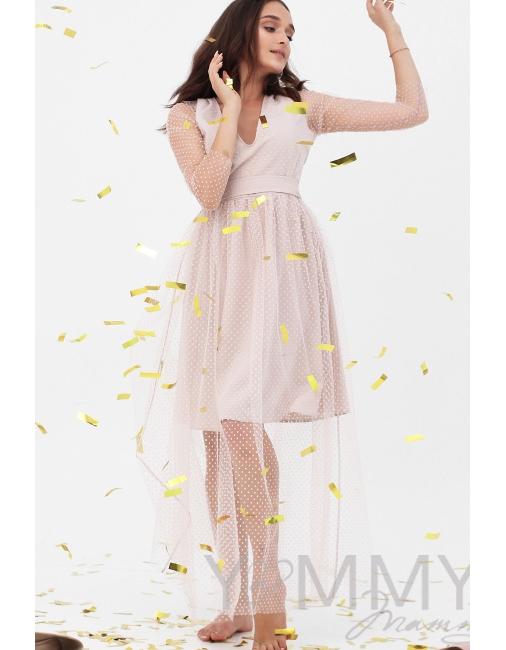 14b280da048702a Вечернее платье для кормящих и беременных с поясом, розовое с сеткой ...