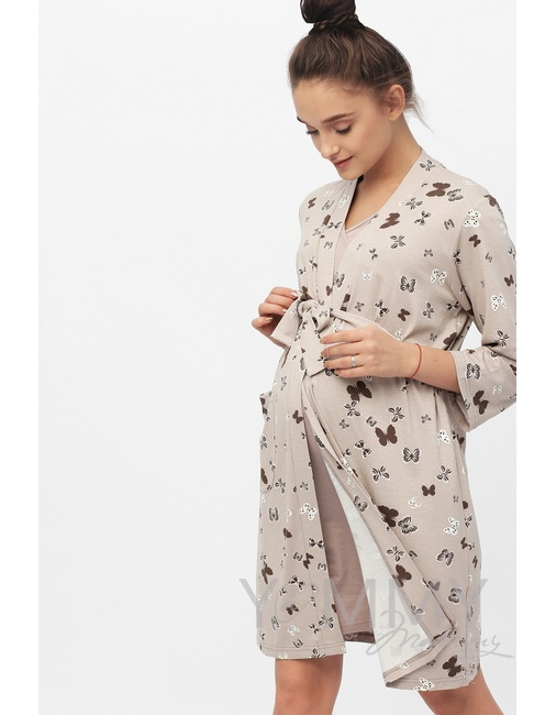 c4cb84cc6c033 Халат бежевый / бабочки - купить Домашняя одежда для беременных в ...