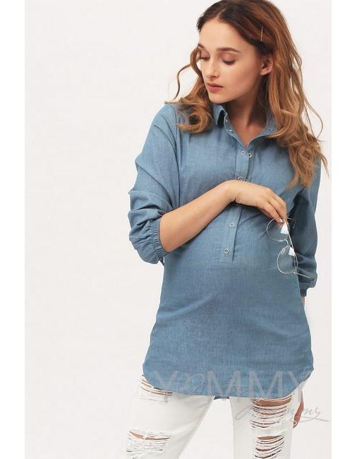 ba8f89d54459 Рубашка для кормящих и беременных джинсовая, голубая в горошек ...