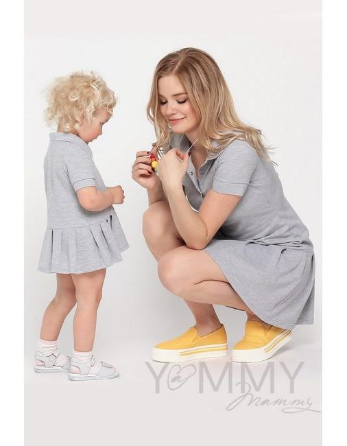 213e3217b156228 Платье для беременных и кормящих поло с воланом, серый меланж ...